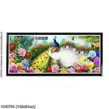 HH0764 Tranh thêu chữ thập Hoa Khai Phú Quý kích thước trung bình 149x64cm
