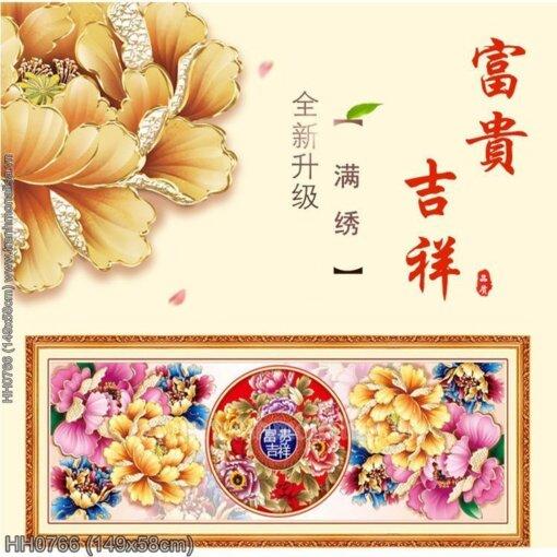 HH0766 Tranh thêu chữ thập Phú quý Cát tường kích thước trung bình 149x58cm