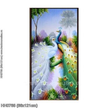 HH0768 Tranh Vợ chồng chim Công thêu kín kích thước trung bình