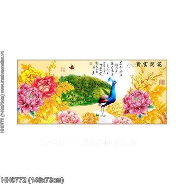 HH0772 Tranh chữ thập thêu kín Hoa Khai Phú Quý khổ trung bình