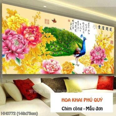 HH0772 Tranh Hoa Khai Phú Quý thêu kín kích thước trung bình