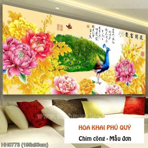 HH0773 Tranh chữ thập thêu kín Hoa Khai Phú Quý khổ lớn