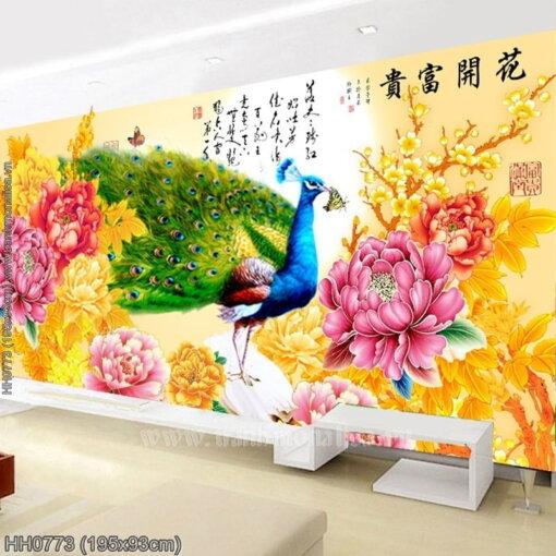 HH0773 Tranh Hoa Khai Phú Quý thêu kín kích thước lớn
