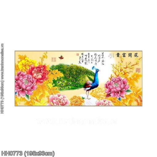 HH0773 Tranh thêu chữ thập Hoa Khai Phú Quý kích thước lớn 195x93cm