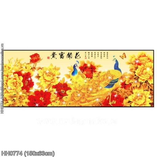 HH0774 Tranh chữ thập thêu kín Hoa Khai Phú Quý khổ trung bình