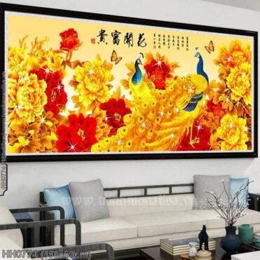 HH0774 Tranh Hoa Khai Phú Quý thêu kín kích thước trung bình