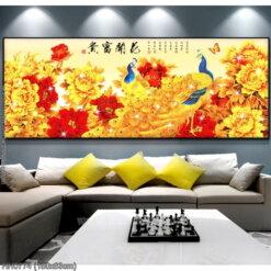 HH0774 Tranh thêu chữ thập Hoa Khai Phú Quý kích thước trung bình 150x63cm