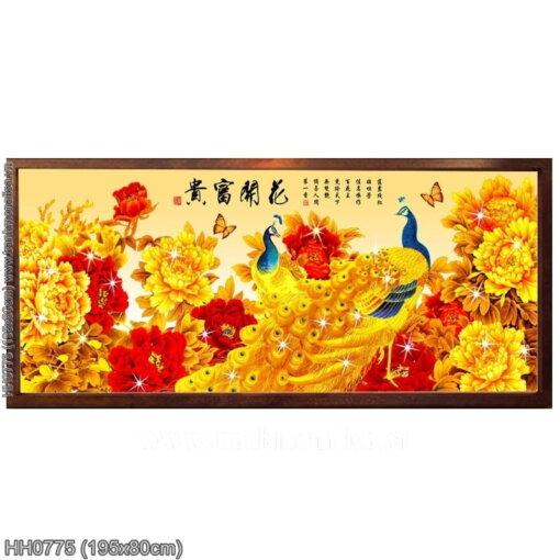HH0775 Tranh thêu chữ thập Hoa Khai Phú Quý kích thước lớn 195x80cm