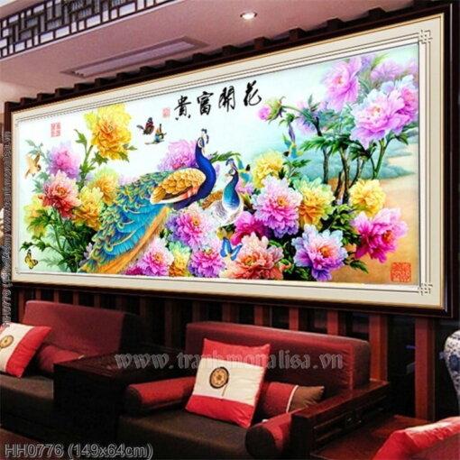 HH0776 Tranh Hoa Khai Phú Quý thêu kín kích thước trung bình