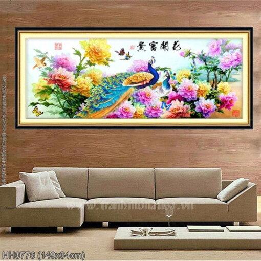 HH0776 Tranh thêu chữ thập Hoa Khai Phú Quý kích thước trung bình 149x64cm