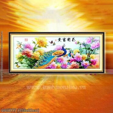 HH0777 Tranh chữ thập thêu kín Hoa Khai Phú Quý khổ lớn