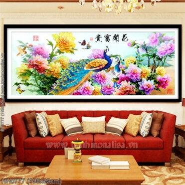 HH0777 Tranh Hoa Khai Phú Quý thêu kín kích thước lớn