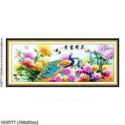 HH0777 Tranh thêu chữ thập Hoa Khai Phú Quý kích thước lớn 195x82cm