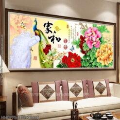 HH0779 Tranh chữ thập thêu kín Phú Quý khổ lớn