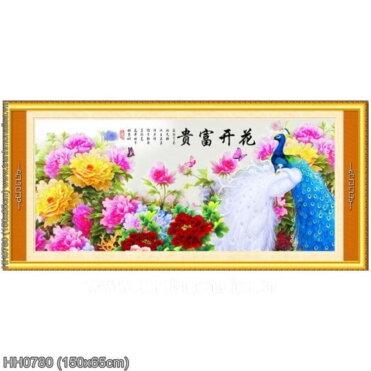 HH0780 Tranh chữ thập thêu kín Hoa Khai Phú Quý khổ trung bình