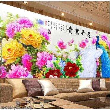 HH0780 Tranh thêu chữ thập Hoa Khai Phú Quý kích thước trung bình 150x65cm