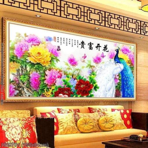 HH0781 Tranh chữ thập thêu kín Hoa Khai Phú Quý khổ lớn