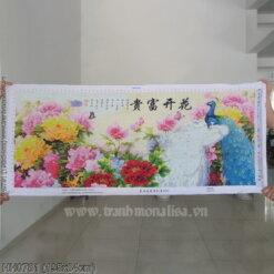 HH0781 Tranh Hoa Khai Phú Quý thêu kín kích thước lớn
