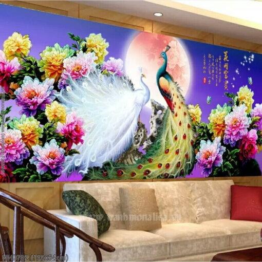 HH0782 Tranh Hoa Khai Phú Quý thêu kín kích thước trung bình