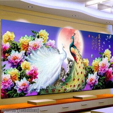 HH0783 Tranh chữ thập thêu kín Hoa Khai Phú Quý khổ lớn