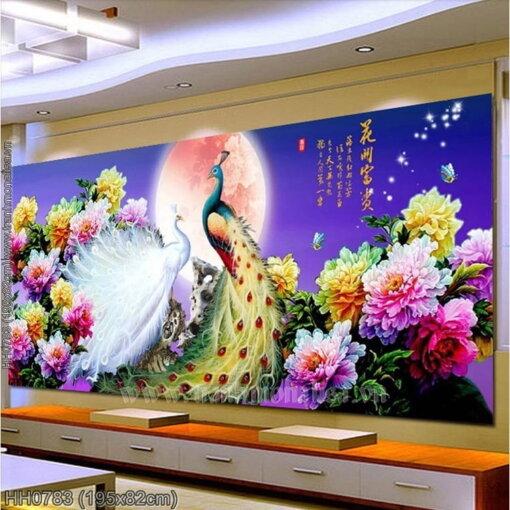 HH0783 Tranh Hoa Khai Phú Quý thêu kín kích thước lớn