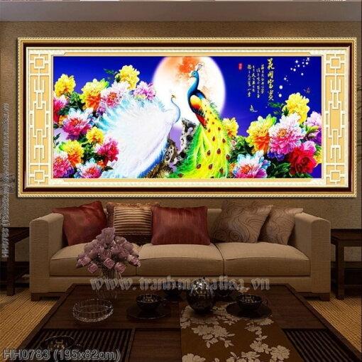 HH0783 Tranh thêu chữ thập Chim công Vọng Nguyệt kích thước lớn
