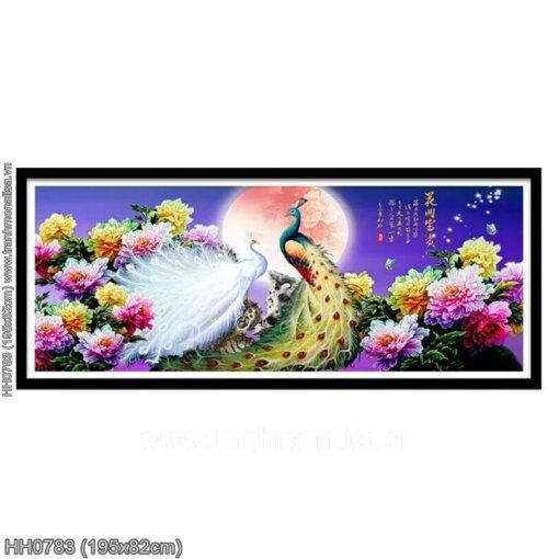 HH0783 Tranh thêu chữ thập Hoa Khai Phú Quý kích thước lớn 195x82cm