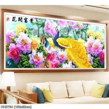 HH0784 Tranh thêu chữ thập Hoa Khai Phú Quý kích thước trung bình 150x62cm