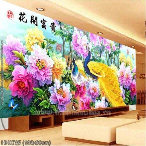 HH0785 Tranh chữ thập thêu kín Hoa Khai Phú Quý khổ lớn