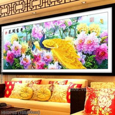 HH0785 Tranh Hoa Khai Phú Quý thêu kín kích thước lớn