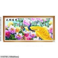 HH0785 Tranh thêu chữ thập Hoa Khai Phú Quý kích thước lớn 195x80cm