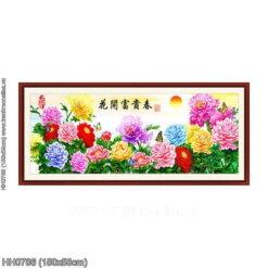 HH0786 Tranh chữ thập thêu kín Hoa khai phú quý mùa Xuân khổ trung bình