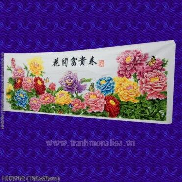HH0786 Tranh Hoa khai phú quý mùa Xuân thêu kín kích thước trung bình