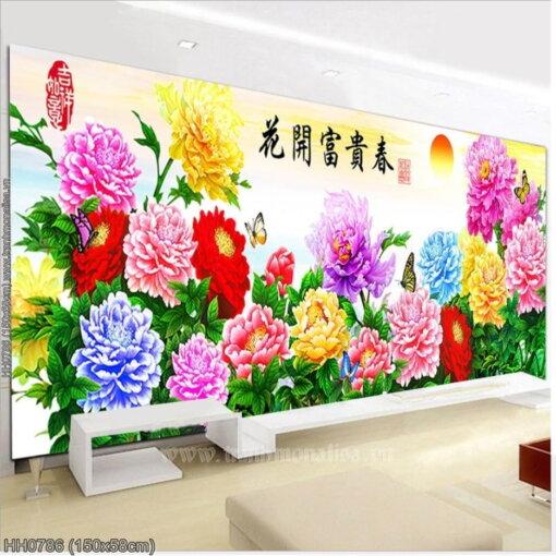 HH0786 Tranh thêu chữ thập Hoa khai phú quý mùa Xuân kích thước trung bình 150x58cm
