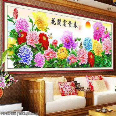 HH0786 Tranh thêu chữ thập Hoa Mẫu Đơn nhiều màu kích thước trung bình