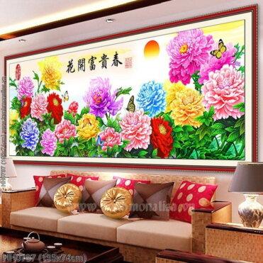HH0787 Tranh chữ thập thêu kín Hoa khai phú quý mùa Xuân khổ lớn