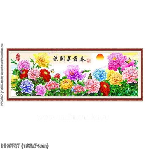 HH0787 Tranh thêu chữ thập Hoa khai phú quý mùa Xuân kích thước lớn 195x74cm