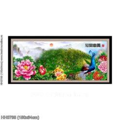 HH0788 Tranh Hoa khai phú quý thêu kín kích thước trung bình