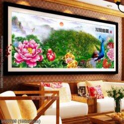 HH0789 Tranh chữ thập thêu kín Hoa khai phú quý khổ lớn