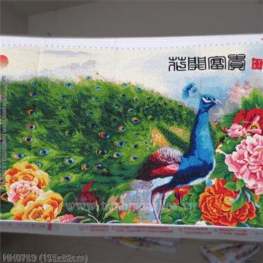 HH0789 Tranh thêu chữ thập Chim Công đẹp kích thước lớn