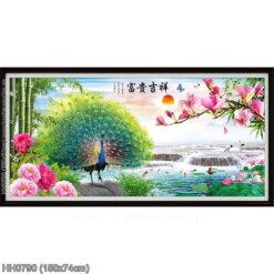HH0790 Tranh Phú quý Cát tường thêu kín kích thước trung bình