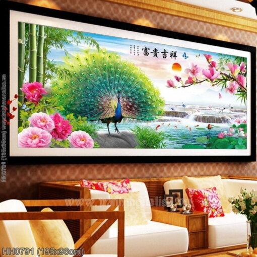 HH0791 Tranh chữ thập thêu kín Phú quý Cát tường khổ lớn