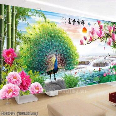 HH0791 Tranh Phú quý Cát tường thêu kín kích thước lớn