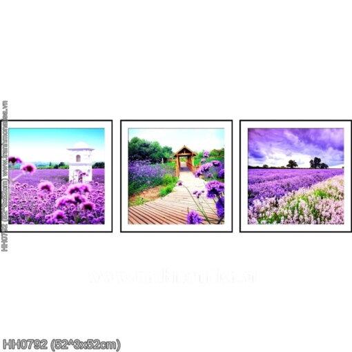 HH0792 Tranh chữ thập thêu kín Hoa Oải Hương (3 bức) khổ trung bình