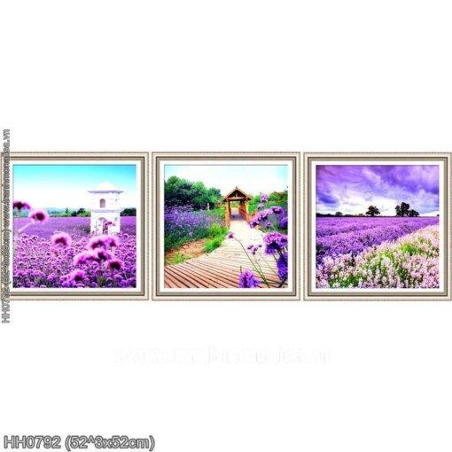 HH0792 Tranh Hoa Oải Hương (3 bức) thêu kín kích thước trung bình