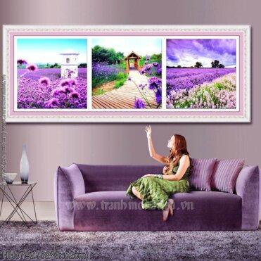 HH0792 Tranh thêu chữ thập Lavender kích thước trung bình