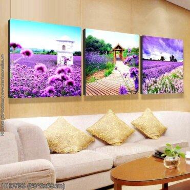 HH0793 Tranh thêu chữ thập Lavender kích thước siêu lớn