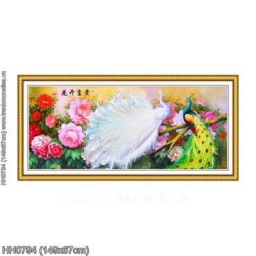 HH0794 Tranh chữ thập thêu kín Hoa khai phú quý khổ trung bình