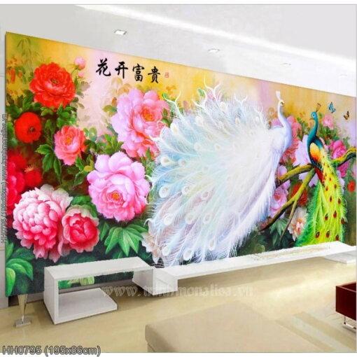 HH0795 Tranh chữ thập thêu kín Hoa khai phú quý khổ lớn