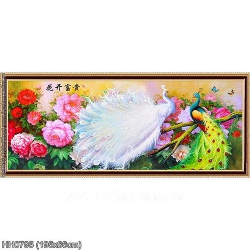 HH0795 Tranh thêu chữ thập Hoa khai phú quý kích thước lớn 195x86cm